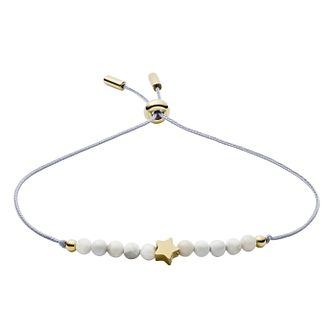 Fossil Ladies' Gold Tone Star & Howlite Bracelet - Product number 3286479