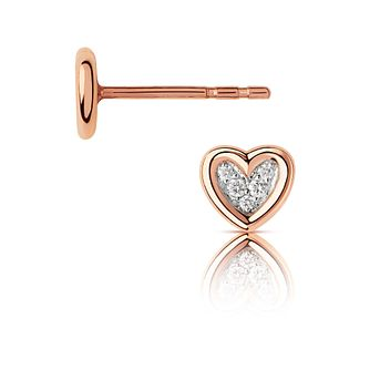 Links Of London Diamond Heart 14ct Rose Gold Stud Earrings - Product number 3290069