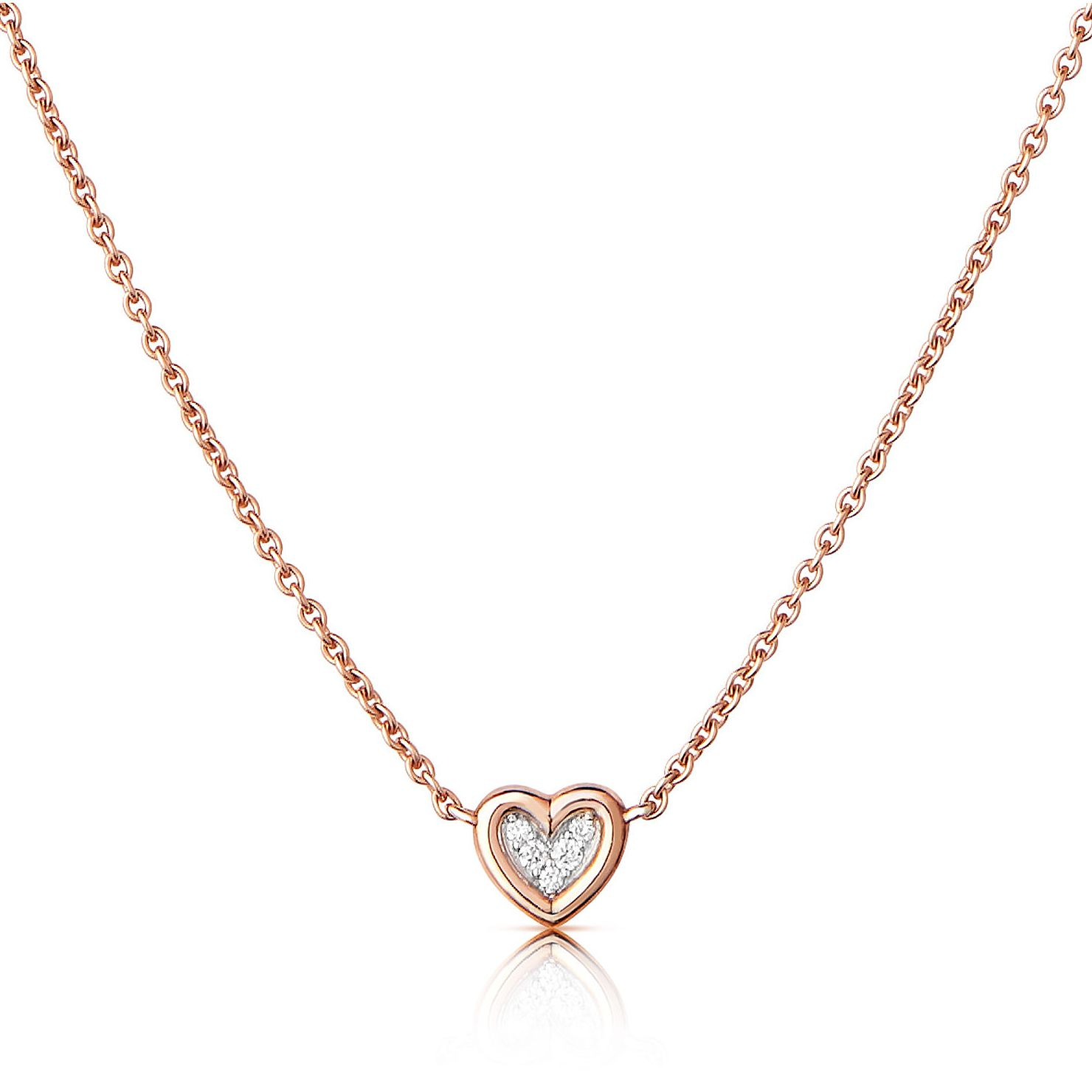Links Of London Diamond Heart 14ct Rose Gold Necklace - Product number 3290174