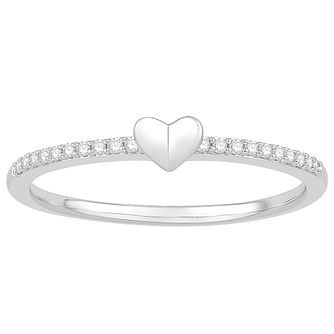 Signature Heart Silver Diamond Heart Ring - Product number 3290549