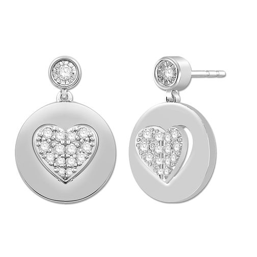 Signature Heart Silver 0.29ct Diamond Heart Stud Earrings - Product number 3291057