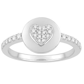 Signature Heart Silver 0.23ct Diamond Ring - Product number 3291065