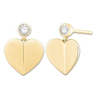 Signature Heart 9ct Yellow Gold Diamond Heart Stud Earrings - Product number 3291332