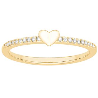 Signature Heart 9ct Yellow Gold Diamond Heart Ring - Product number 3291340