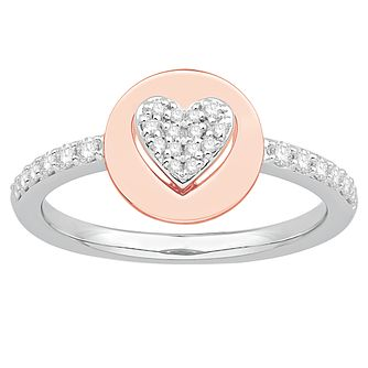 Signature Heart Silver & 9ct Rose Gold 0.23ct Diamond Ring - Product number 3291499