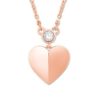 Signature Heart 9ct Rose Gold Diamond Heart Pendant - Product number 3291936