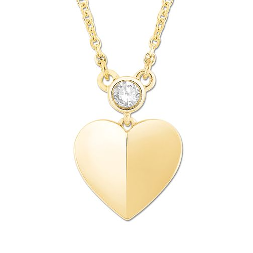 Signature Heart 9ct Yellow Gold Diamond Heart Pendant - Product number 3291944