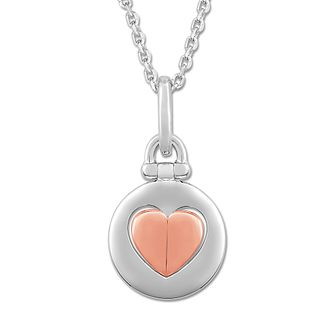 Signature Heart Silver & 9ct Rose Gold Raised Heart Pendant - Product number 3292088