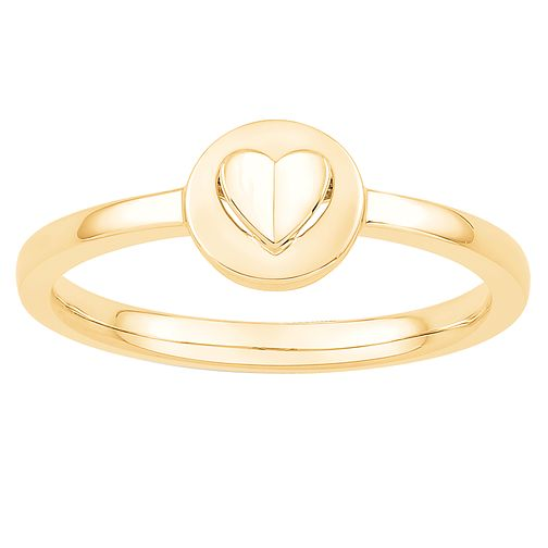 Signature Heart 9ct Yellow Gold Raised Heart Ring - Product number 3292126
