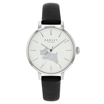 Radley Glitter Dog Ladies' Black Leather Strap Watch - Product number 3296741