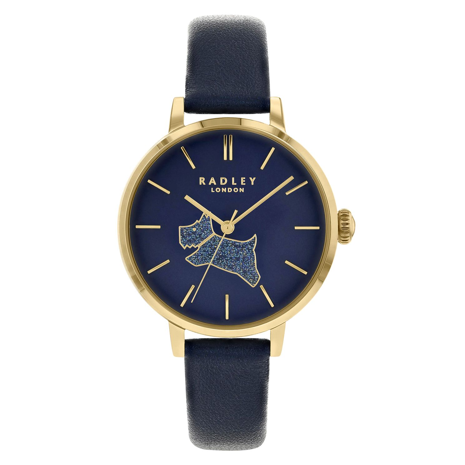 Radley Glitter Dog Ladies' Navy Leather Strap Watch - Product number 3296814