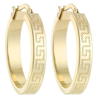 9ct Yellow Gold Greek Key Hoop Earrings - Product number 3307735
