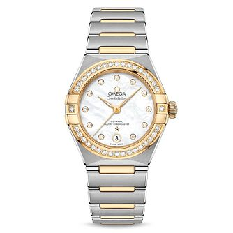 Omega Constellation Ladies Two Colour Diamond Bracelet Watch - Product number 3308154