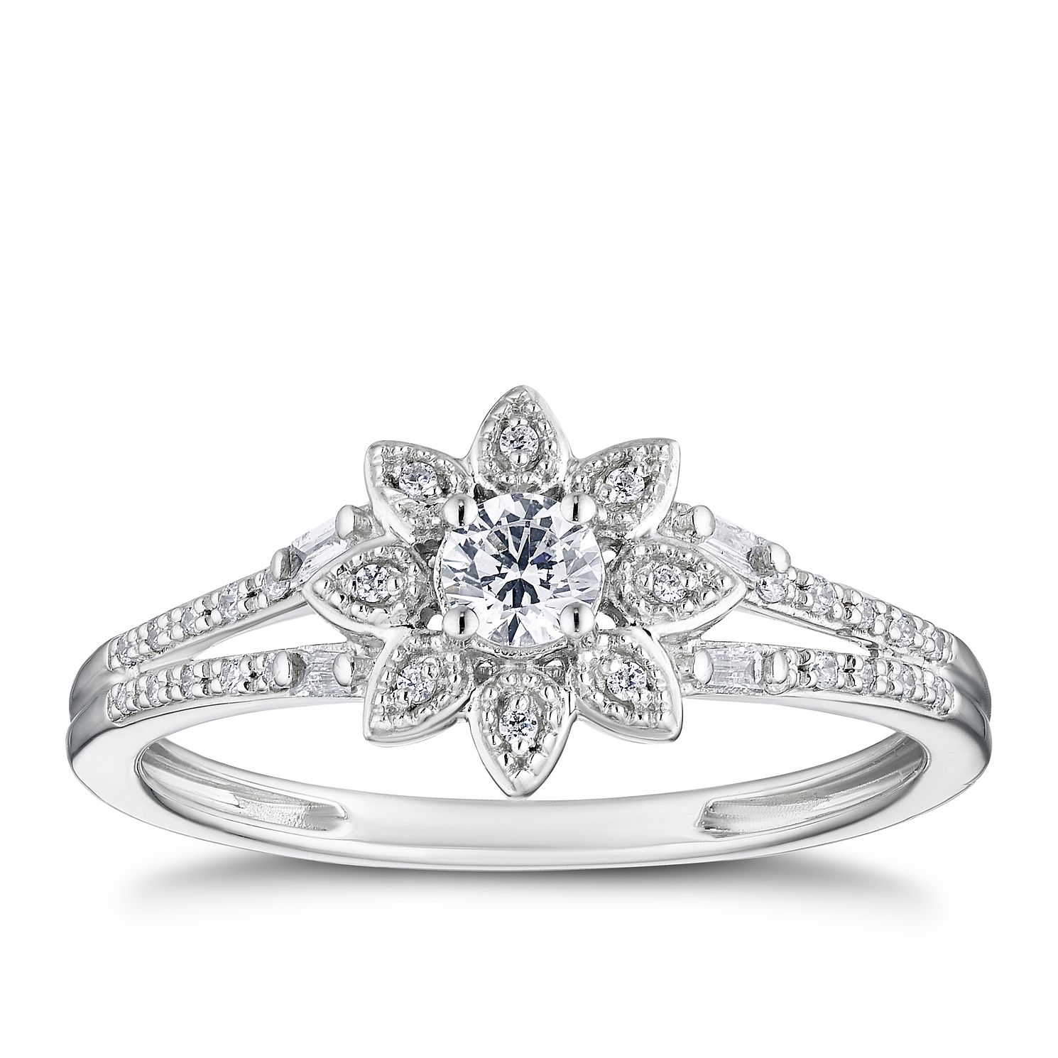9ct White Gold 1/4ct Diamond Flower Solitaire Ring - Product number 3310639