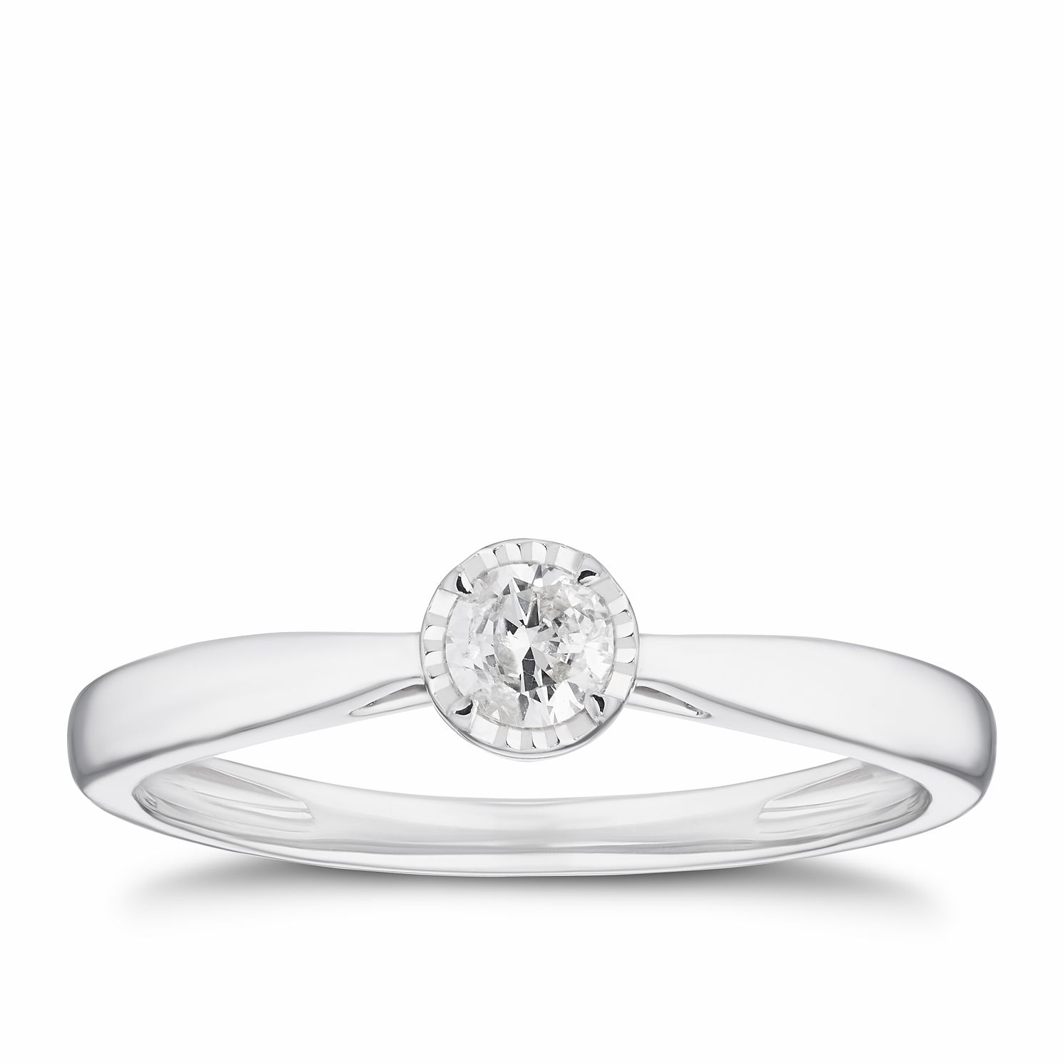 9ct White Gold 0.15ct Illusion Set Diamond Solitaire Ring - Product number 3311791
