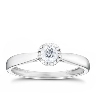 9ct White Gold 1/5ct Illusion Set Diamond Solitaire Ring - Product number 3312607