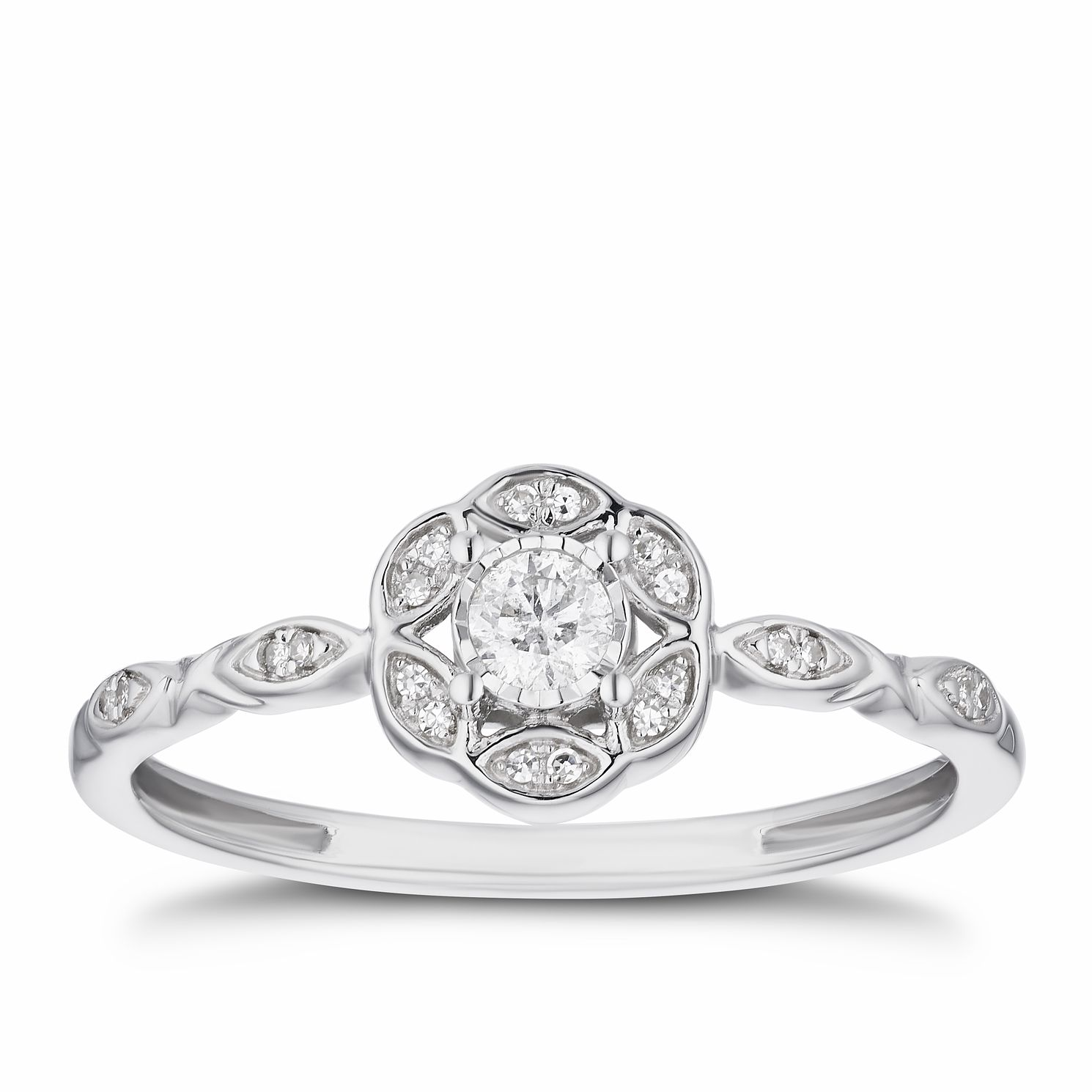 9ct White Gold 0.12ct Diamond Floral Halo Ring - Product number 3313026