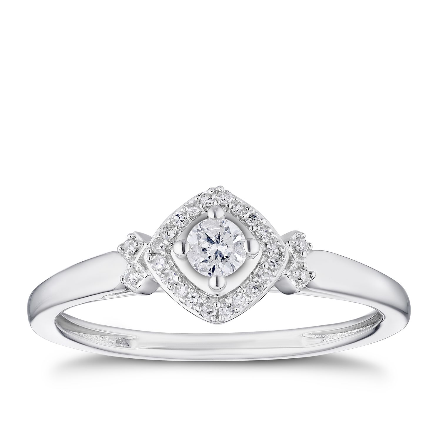 9ct White Gold 0.15ct Total Diamond Halo Solitaire Ring - Product number 3313603