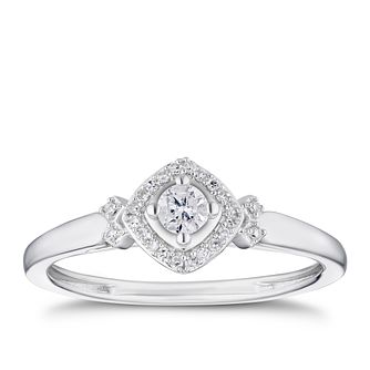 9ct White Gold 0.15ct Diamond Cushion Halo Solitaire Ring - Product number 3313603