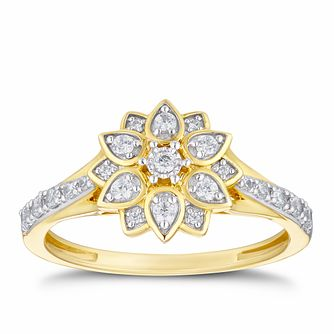 9ct Yellow Gold 1/4ct Diamond Flower Cluster Ring - Product number 3313832