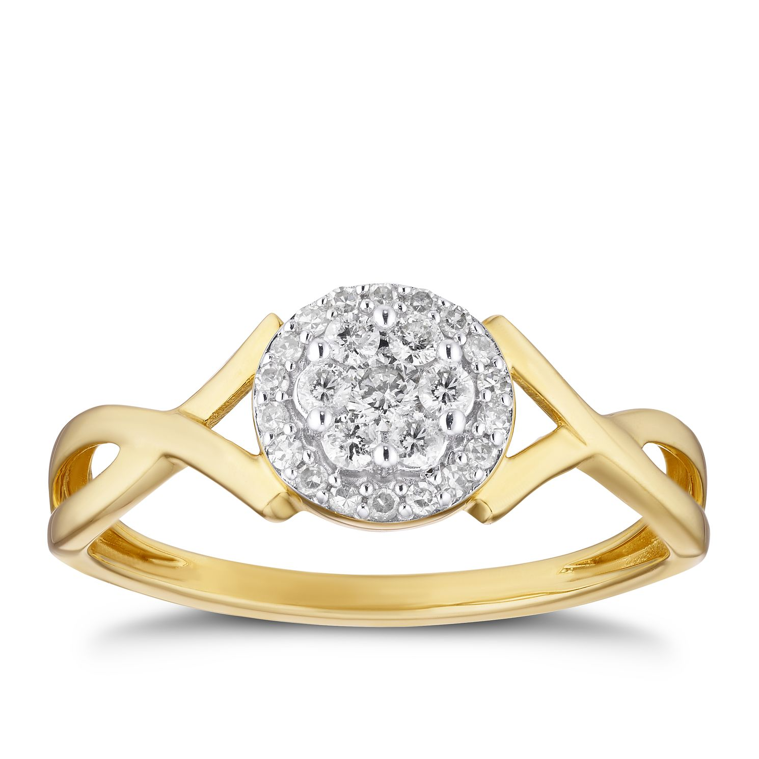 9ct Yellow Gold 1/5ct Diamond Round Cluster Ring - Product number 3315312
