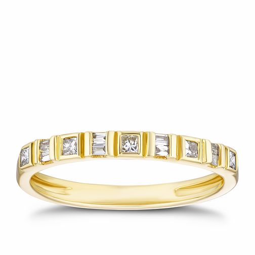 9ct Yellow Gold 0.15ct Baguette Diamond Eternity Ring - Product number 3317757