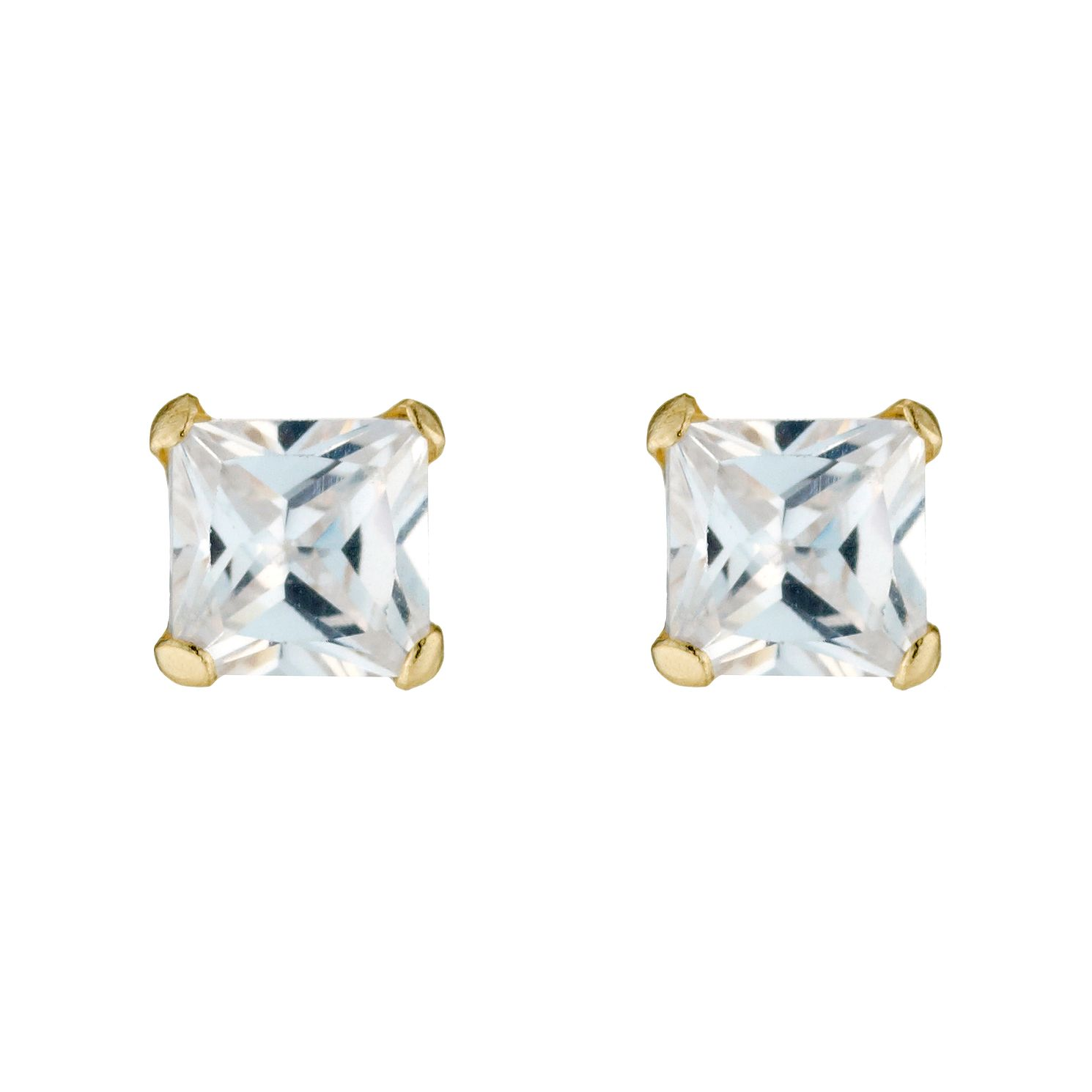 9ct Yellow Gold Cubic Zirconia Square 4mm Stud Earrings - Product number 3318281
