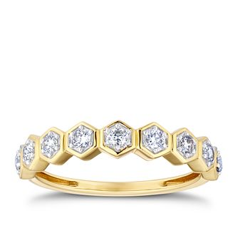 9ct Yellow Gold 1/4ct Diamond Hexagonal Eternity Ring - Product number 3318850
