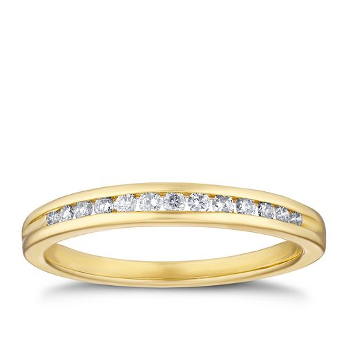 9ct Yellow Gold 0.15ct Diamond Channel Set Eternity Ring - Product number 3320499