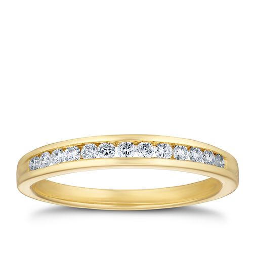 9ct Yellow Gold 1/5ct Diamond Channel Set Eternity Ring - Product number 3320898