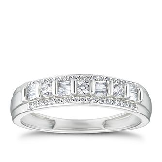 9ct White Gold 1/4ct Baguette & Round Diamond Eternity Ring - Product number 3321932