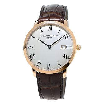 Frederique Constant Slimline Men's Gold Plated Strap Watch - Product number 3322335