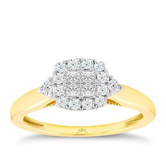 Princessa 9ct Yellow Gold 1/3ct Diamond Ring - Product number 3322955