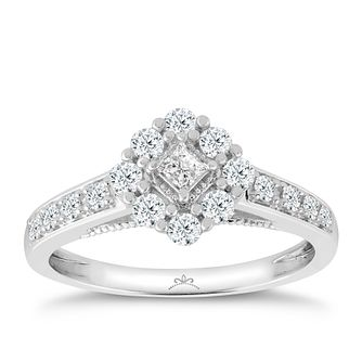 Princessa 9ct White Gold 0.50ct Diamond Cluster Ring - Product number 3324109