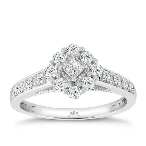 Princessa 9ct White Gold 1/2ct Diamond Cluster Ring - Product number 3324109
