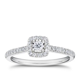 9ct White Gold 0.25ct Total Diamond Cushion Shaped Halo Ring - Product number 3327833