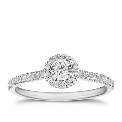 9ct White Gold 1/4ct Round Illusion Set Diamond Ring - Product number 3328023