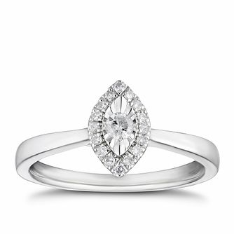 9ct White Gold 0.14ct Marquise Illusion Set Diamond Ring - Product number 3328325