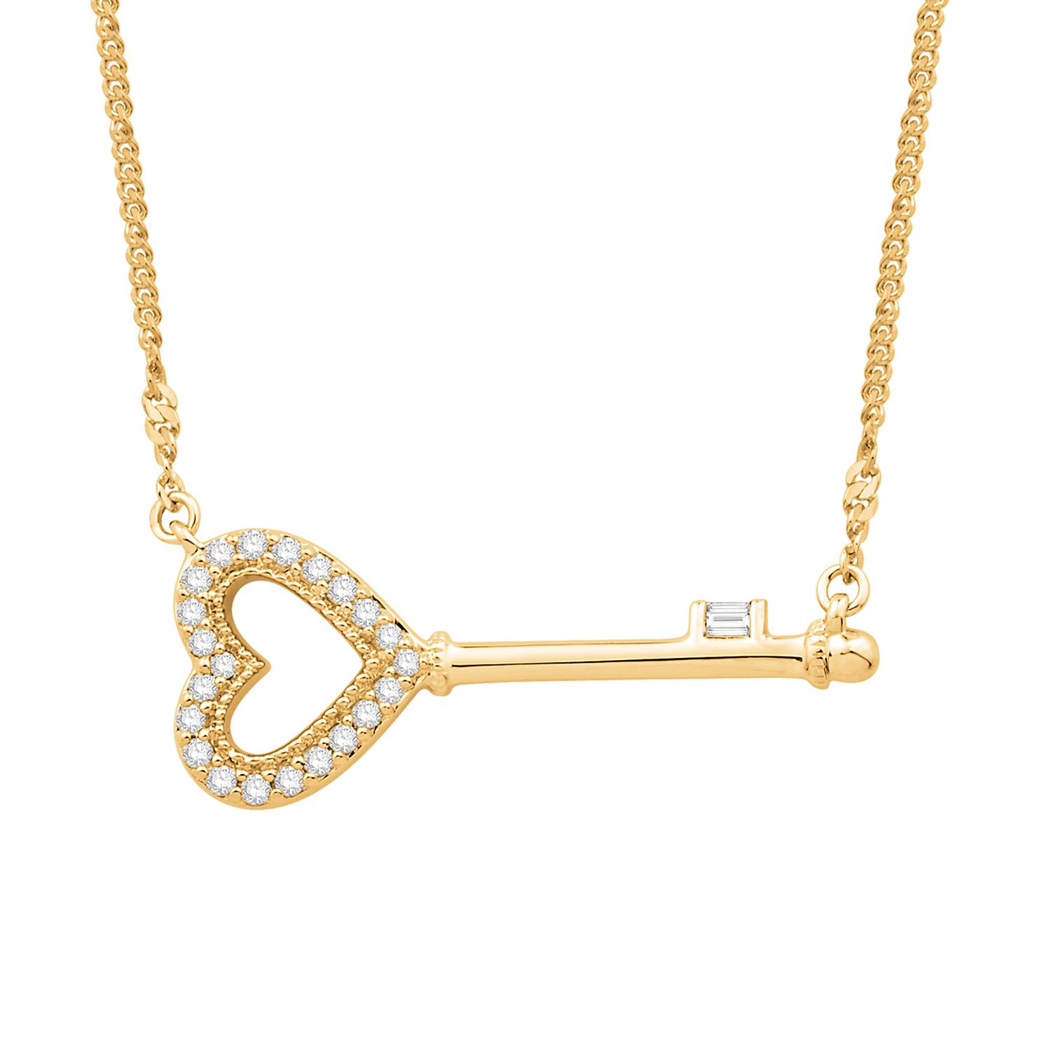 Emmy London 9ct Yellow Gold 0.10ct Heart Diamond Key Pendant - Product number 3329631