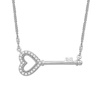 Emmy London 9ct White Gold 1/10ct Heart Diamond Key Pendant - Product number 3329704