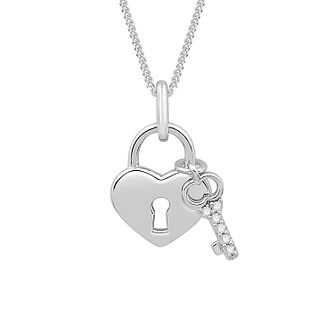 Emmy London Silver Diamond Heart Lock Pendant - Product number 3329720