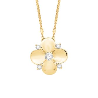 Emmy London 9ct Yellow Gold 1/10ct Diamond Flower Pendant - Product number 3329860