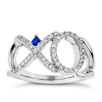 Vera Wang Silver 0.18ct Diamond & Sapphire Xo Ring - Product number 3330699