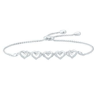 Vera Wang Ladies Sterling Silver Diamond Adjustable Bracelet - Product number 3331717