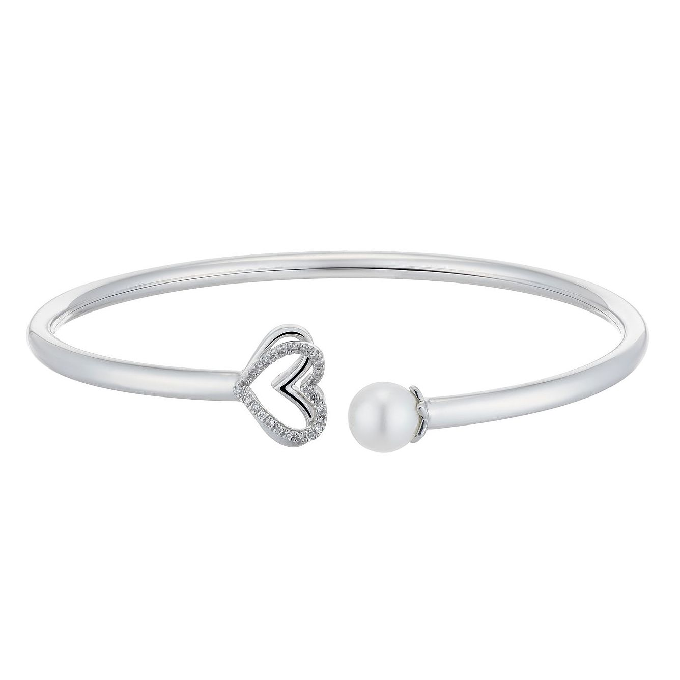 Vera Wang Silver, Cultured Freshwater Pearl & Diamond Bangle - Product number 3331741