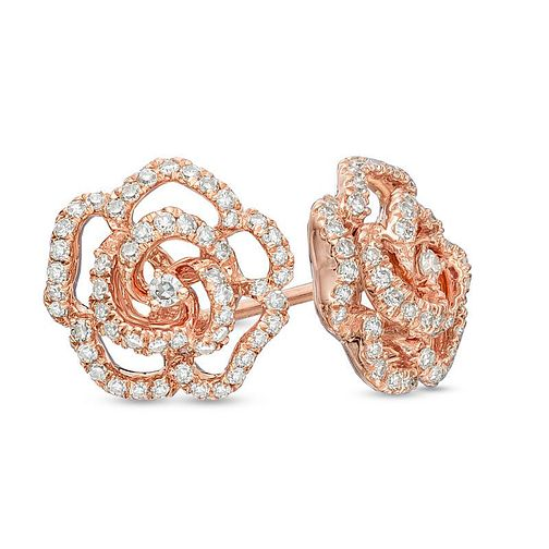 Vera Wang 14ct Rose Gold 0.30ct Diamond & Sapphire Earrings - Product number 3331768