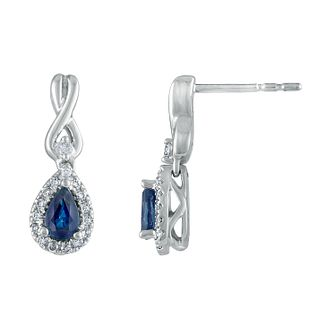 Vera Wang 18ct White Gold 0.14ct Diamond & Sapphire Earrings - Product number 3331814