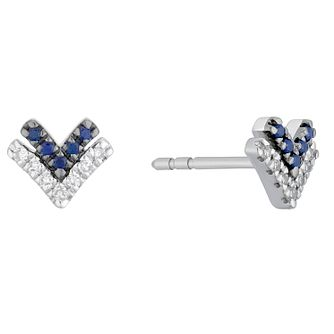 Vera Wang Silver, Sapphire & Diamond Chevron Stud Earrings - Product number 3331830