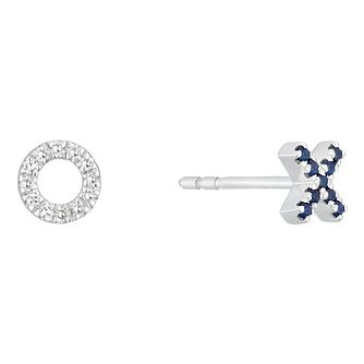 Vera Wang Silver, Sapphire & Diamond Xo Stud Earrings - Product number 3331849