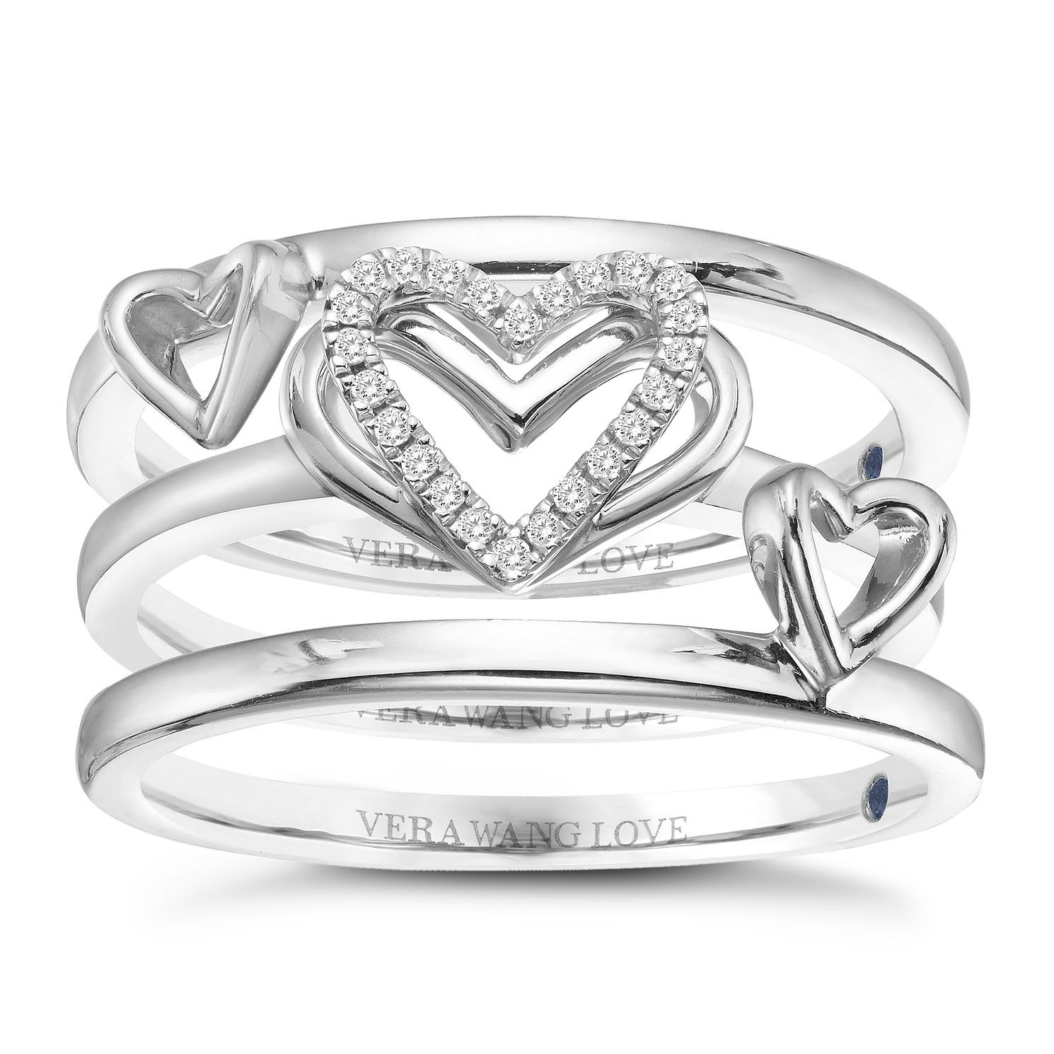 Vera Wang Sterling Silver Diamond Stacking Rings Set - Product number 3332403